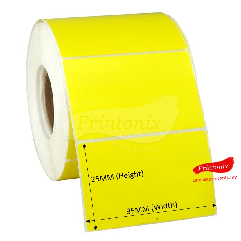 Art paper Barcode Label 35mm x 25mm Yellow Color